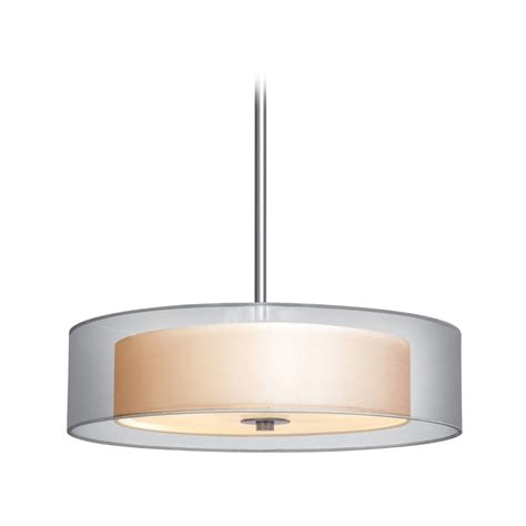 Modern Drum Pendant Light With Silver Shades In Satin .