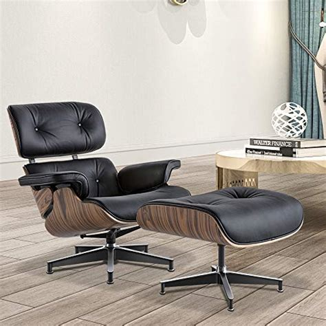 Modern Living - Mid-Century Lounge Chair Ottoman Genuine .