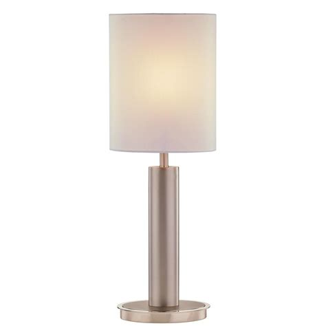 Modern Satin Nickel Table Lamp With Oval Beige Shade .