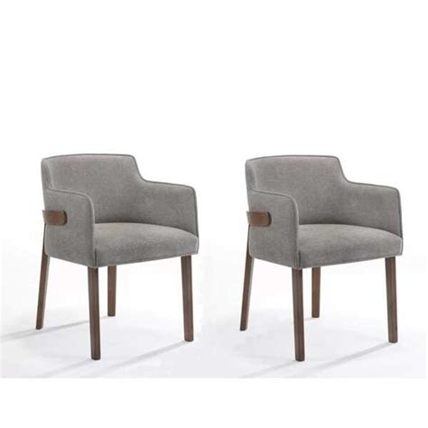 Modrest Jordan Modern Grey  Walnut Dining Chair Set Of 2 .