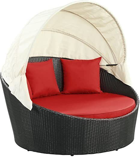 Modway Siesta Outdoor Wicker Patio Canopy Bed In Espresso .