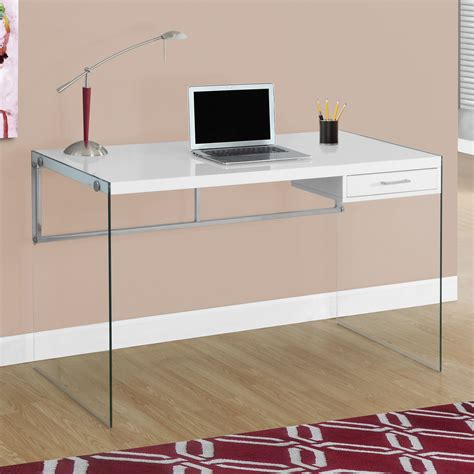 Monarch Computer Desk 48 L  Glossy White  - Walmart Com.