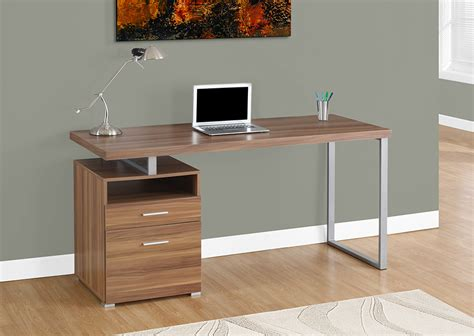 Monarch Computer Desk 60 L  Walnut  Silver Metal .