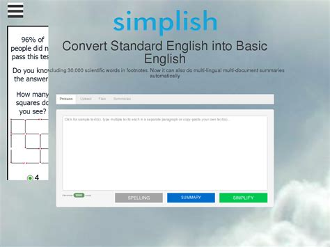 [click]multi-Lingual Text Simplifying  Summarizing Tool Sale .
