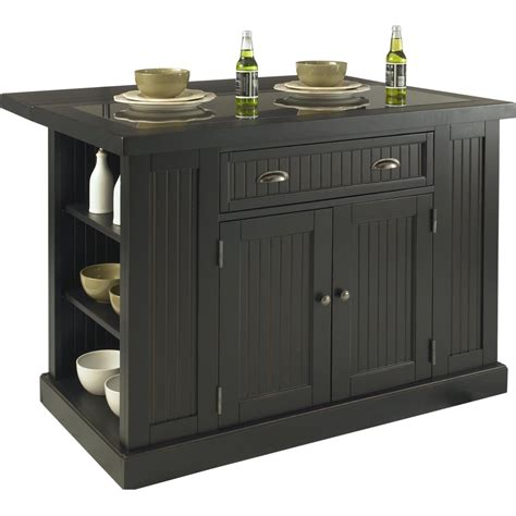 Nantucket Kitchen Island Distressed Black Finish - Walmart Com.