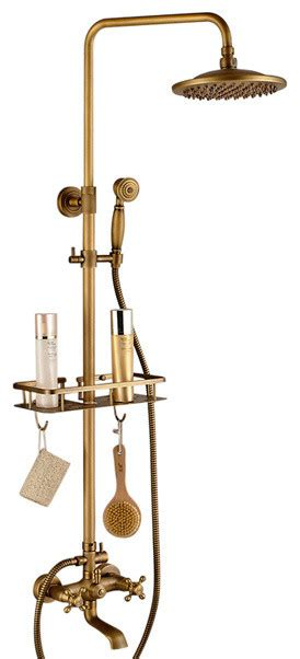 Naples Antique Brass Shower Set With Hand Shower 5.