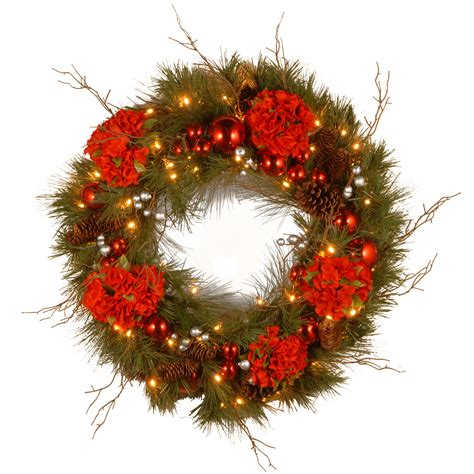 National Tree Artificial 18 Flower Decorated Wreath .