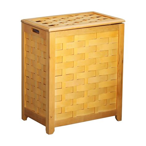 Natural Finished Rectangular Veneer Laundry Wood Hamper .
