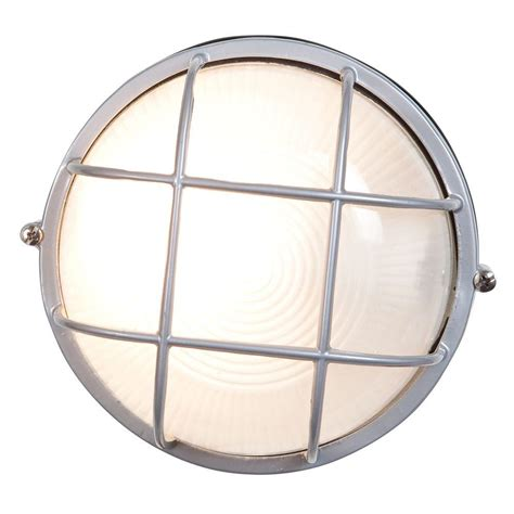 Nauticus 1-Light Satin Outdoor Bulkhead Light With Frosted .