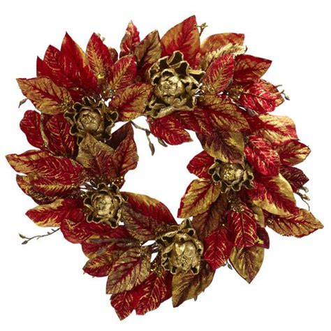 Nearly Natural 18 Artichoke Wreath - Walmart Com.