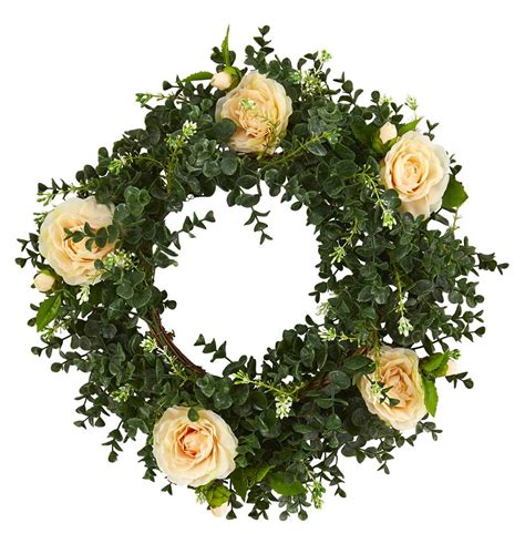 Nearly Natural 18 Eucalyptus Double Ring Wreath With Twig .