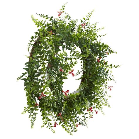 Nearly Natural 18 Floral And Fern Double Ring Wreath With .