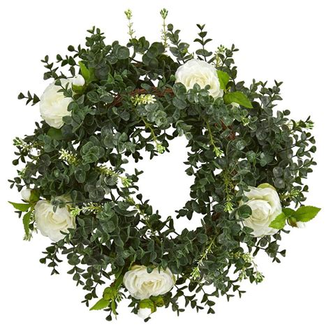 Nearly Natural 18 In Eucalyptus Double Ring Wreath With .