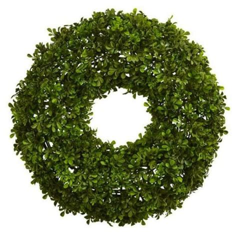 Nearly Natural 22 In Boxwood Wreath-4554 - The Home Depot.