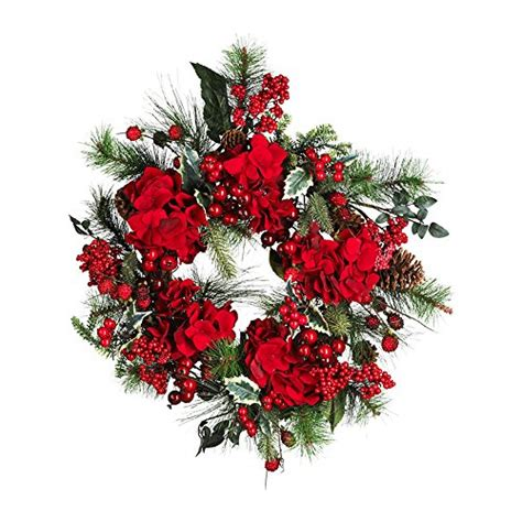 Nearly Natural 22 Quot Hydrangea Holiday Wreath Holiday .