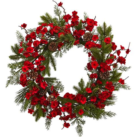Nearly Natural 24 Cherry Blossom Wreath - Walmart Com.