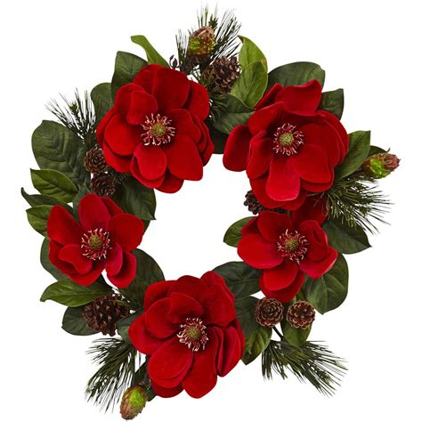 Nearly Natural 24 Red Magnolia And Pine Wreath - Walmart Com.