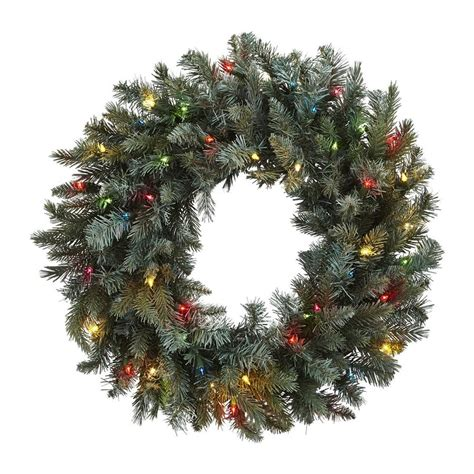 Nearly Natural 30 In Lighted Pine Artificial Wreath With .