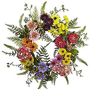 Nearly Natural 4581 Mixed Flower Wreath - Amazon Com.