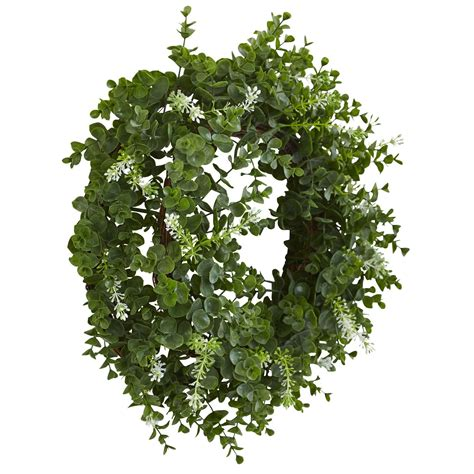 Nearly Natural Eucalyptus Double Ring Wreath With Twig .
