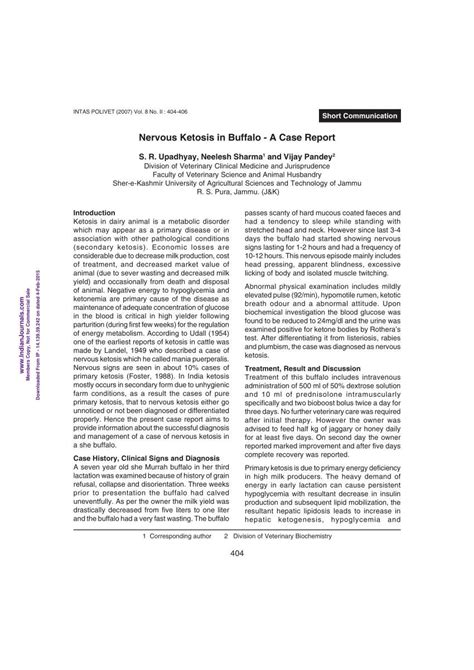 [pdf] Nervous Ketosis In Buffalo - A Case Report - Researchgate Net.
