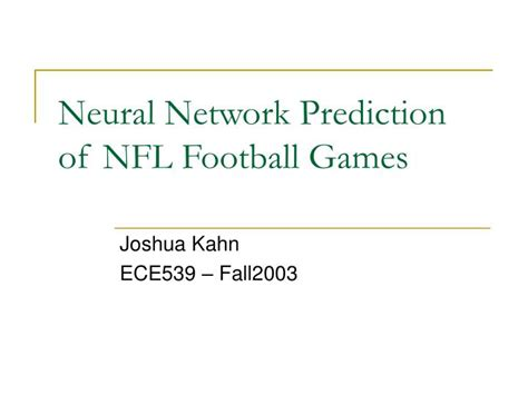 [pdf] Neural Network Prediction Of Nfl Football Games.