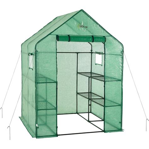 Ogrow Deluxe Walk-In 2 Tier 8 Shelf Portable Lawn And .