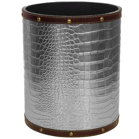Oriental Furniture Black Faux Leather Waste Basket.