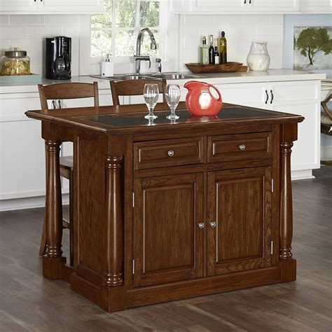 Oak Kitchen Island And Stools