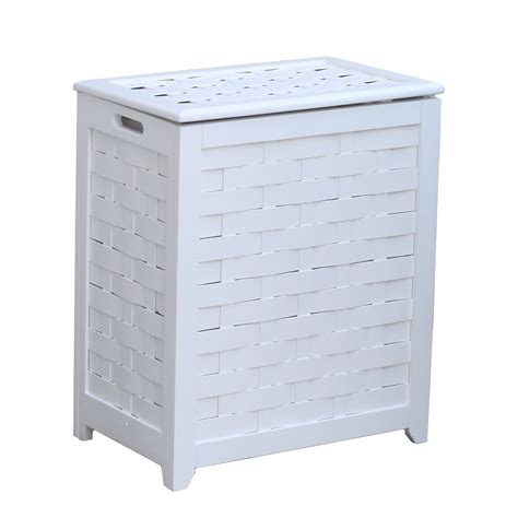 Oceanstar Rhv0103w Rectangular Veneer Laundry Wood Hamper .