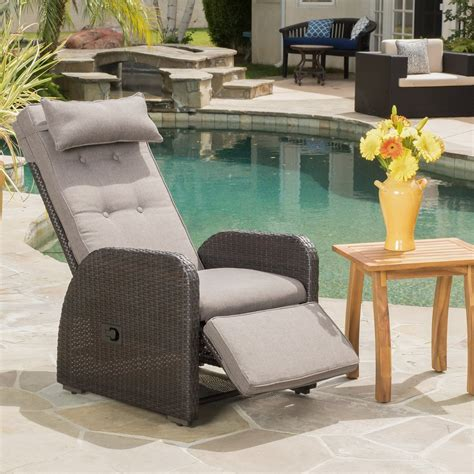 Odina Brown Outdoor Recliner With Cushion   Gdf Studio.