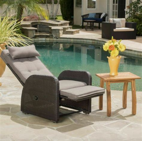 Odina Outdoor Brown Recliner With Cushion For Sale Online .
