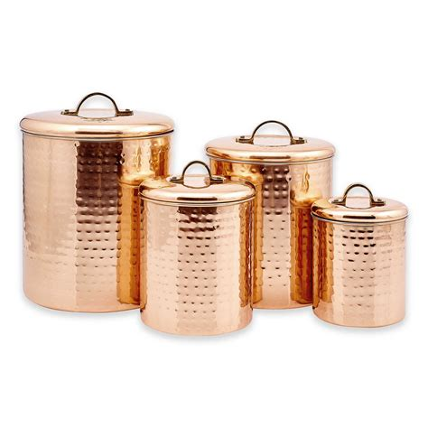 Old Dutch Decor Copper Hammered Canister Set 4-Piece -843 .