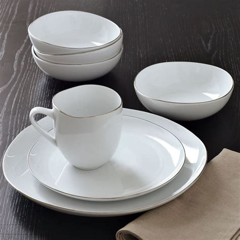 Organic Shaped Dinnerware Set Of 16 White From West Elm .