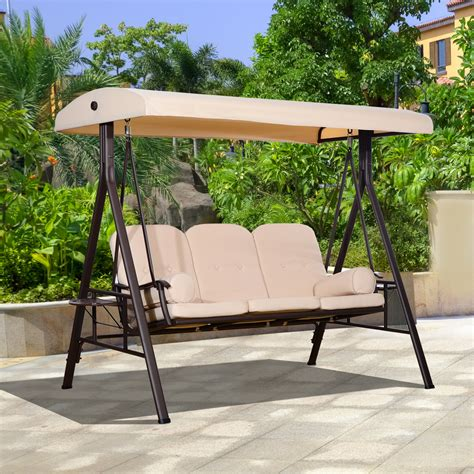 Outdoor Glider Bench With Canopy