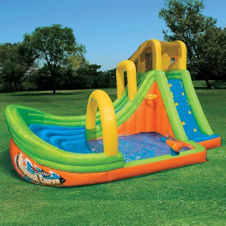Outdoor Playset Wipe Out Play Huge Banzai Water Park Inflatable Curve Slide