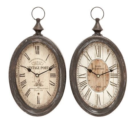Oval Shape Sophisticated Assorted Metal Wall Clock - Set .