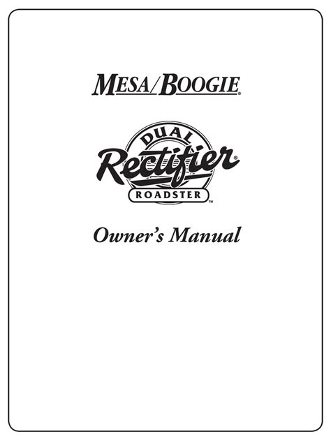 [pdf] Owner S Manual - Mesa Boogie .