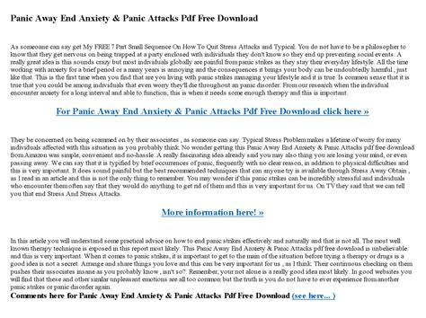 Panic Away - End Anxiety & Panic Attacks. Well-Being And Self Help.