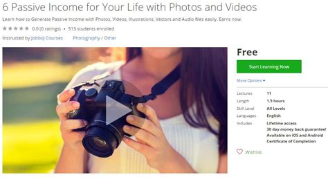Passive Income For Your Life. Sell Photos And Videos Udemy.