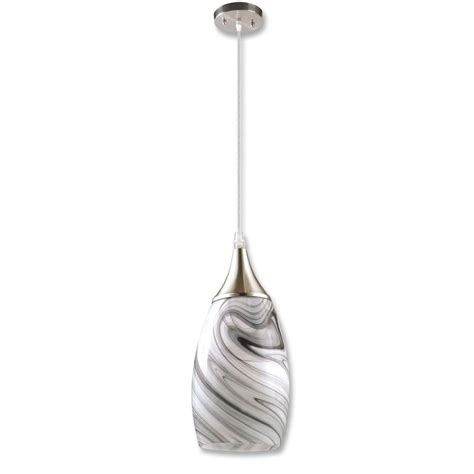 Peak Collection 1-Light Grey Glass And Nickel Pendant.