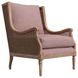 Peoria Dusty Pink Linen Rattan Accent Chair  Up To 70 Off.