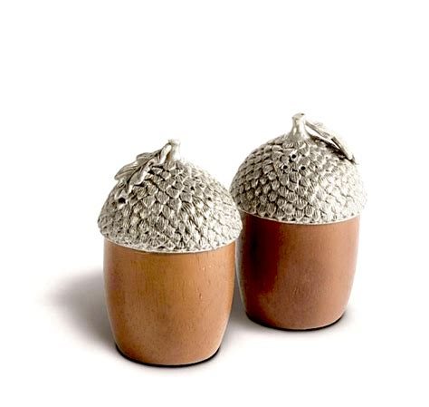 Pewter Squirrel W Wood Acorn Salt  Pepper   Maude Woods.