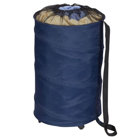 Pop Up Polyester Laundry Hamper With Wheels In Navy Blue.