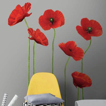 Poppies At Play Giant Wall Decals  Roommates