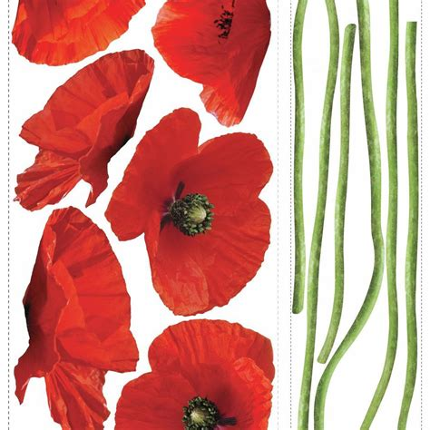 Poppies At Play Peel  Stick Giant Wall Decals Rmk1729gm .