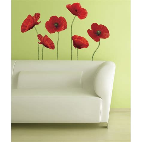 Poppies At Play Peel  Stick Giant Wall Decals Wall Decal .