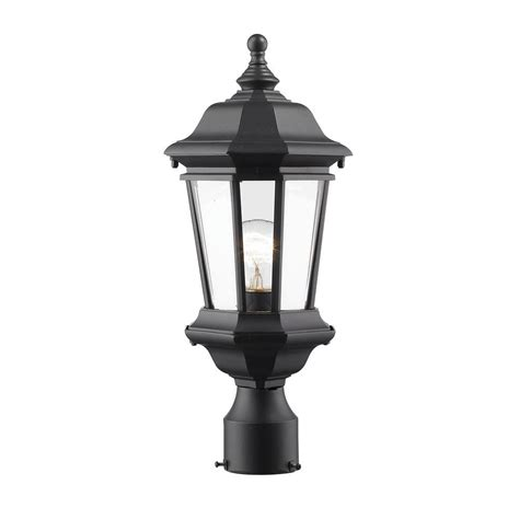 Presley 1-Light Black Classic Outdoor Lamp Post Mount With .