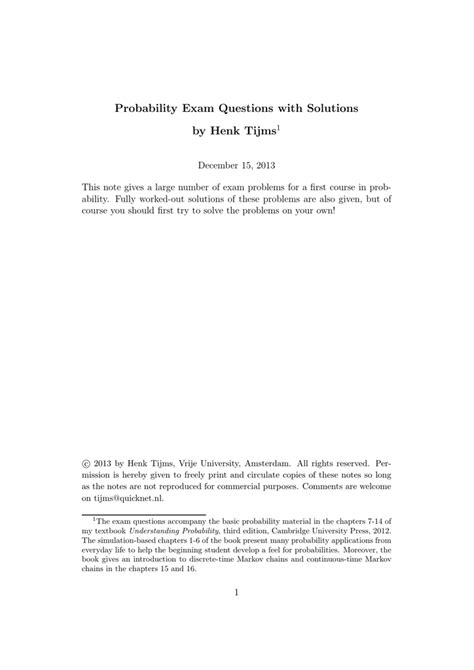 [pdf] Probability Exam Questions With Solutions By Henk Tijms.