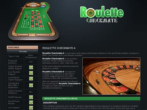 Products - Roulette Checkmate - Software For Roulette With Number.